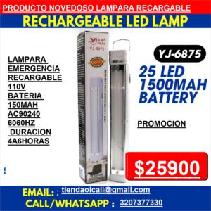 LINTERNA LAMPARA 25LED RECARGABLE YJ-6875